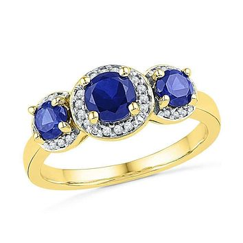 10kt Yellow Gold Women's Round Lab-Created Blue Sapphire 3-stone Diamond Ring 1-3/8 Cttw - FREE Shipping (US/CAN)