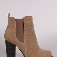 Suede Elastic Gore Chunky Heeled Ankle Boots