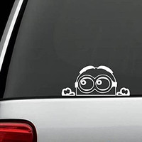 "CMI176 Minion Despicable Me Peeking decal sticker for car truck suv van xbox ps4 | White | 7.25"" x 3"""