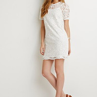 Embroidered Overlay Shift Dress