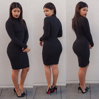 Black Long Sleeve Turtleneck Bodycon Mini Dress