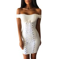 Lace Up Strapless Cocktail Dress