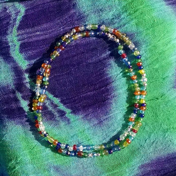 Random Rainbows with Crystal Glass Czech Beads Doubled Stretch Anklet Small Necklace or Layered Bracelets Multifunctional Ankle Bracelets