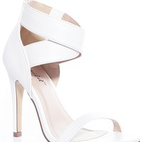 Bonnibel Wrapped Up In The Moment Dressy Ankle Strap High Heel Sandals - White