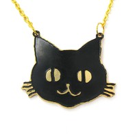 Black Kitty Cat Shaped Animal Pendant Necklace   Limited Edition