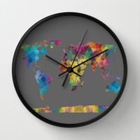 Colorful Geometric Map Wall Clock by Color and Form   Society6