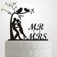 Wedding Cake Topper Silhouette Bride and Groom Elegant and romantic MR & MRS With Tree and birds Cake Topper wedding idea
