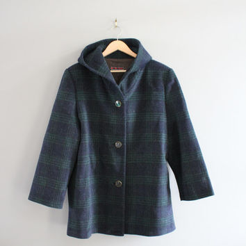 Classic England Check Pattern Green Plaid Wool Coat Cocoon Oversized Parka Hooded Coat Wool Winter Jacket Size S - M