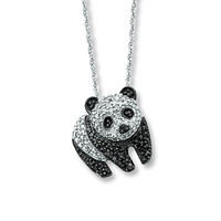 Diamond Panda Necklace 1/4 ct tw Round-cut Sterling Silver
