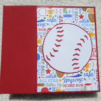 6x6 Bright Red and Blue Baseball Scrapbook Photo Album