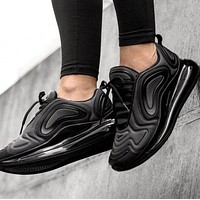 Bunchsun Nike Air Max 720 Popular Men Women Air Cushion Sport Running Shoes Sneakers Pure Black