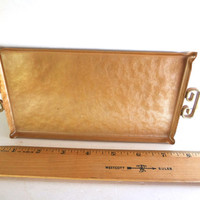 Vintage Moire Glaze Kyes Tray Gold Colored 8 X 3 & 7/8 Inches Very Light Wear Mid Century 1960s