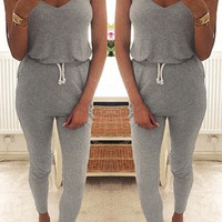 Grey Drawstring Jumpsuit