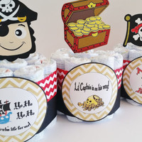 Pirate Diaper Cakes, Mini Diaper Cake, Baby Shower Center Piece, Ahoy It's a Boy Baby Shower Decor, Boy Baby Shower Decor