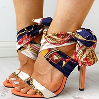 New fashion personality lace-up pattern open toe stiletto high heel sandals shoes