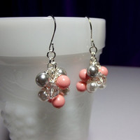 Swarovski Pink Coral White Gray Pearl and Crystal Small Cluster Earrings, Mothers Day, Mom Sister Grandmother Jewelry Gift, Cocktail