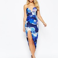 Ginger Fizz Sweetheart Bandeau Maxi Dress With Thigh High Split In Floral Print