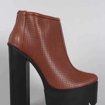 Perforated Lug Sole Chunky Platform Ankle Boots