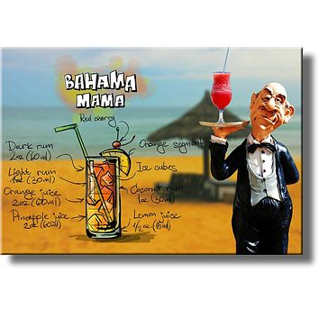 Bahama Mama Alcohol Drink Waiter Picture on Stretched Canvas, Wall Art Decor, Ready to Hang!