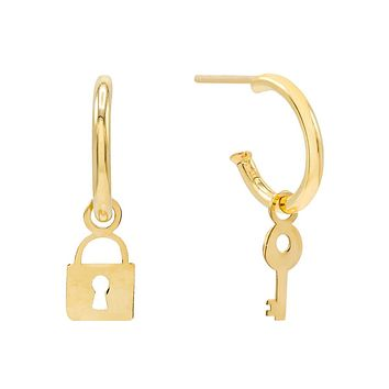 Lock Dangle Hoop Earring 14K