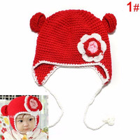 Baby Knit Crochet Monkey Hat with Flower. 3 Colors