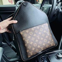 LV New fashion monogram print leather handbag backpack bag book bag Black