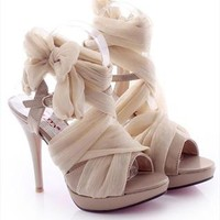 High Heel Chiffon Lace Up Sandals for Women Beige FFX061626 from topsales