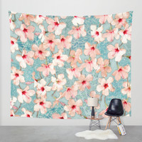 Shabby Chic Hibiscus Patchwork Pattern in Peach & Mint Wall Tapestry by Micklyn