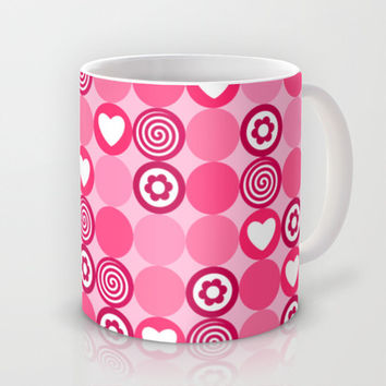 Cute pink hearts, flowers and dots Mug by Silvianna