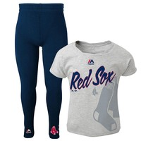 Majestic Boston Red Sox Drop Tail Dolman Top with Leggings - Girls 4-6X, Size: