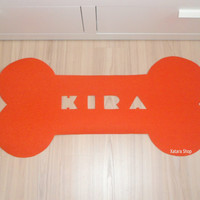 Custom pets mat. Bone shape rug for dog. Personalized name.