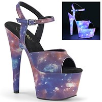 "Adore 709REFL Reflective Galaxy Platform Sandals - 7"" High Heels"