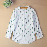 Fashion Women Fashion Blouses Long Sleeved Sweet Cute Shirts Cactus Printed Stand Collar Casual Leisure Tops  Hot Sale