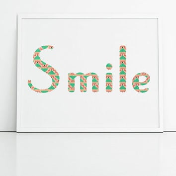 Smile typography print, pink and green aztec print, aztec typography, home decor print, aztec wall art, mint and peach print, happy print