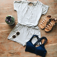 A Little Stripe Romper in Gray