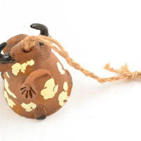 Designer handmade painted ceramic Bell in the shape of Cow Unusual gift ideas