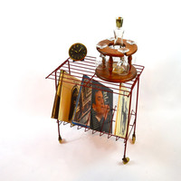Red Metal Record Stand, Vintage Wire Shelf Record Storage, Record Player Stand, Mid Century Rolling Cart, Bar Cart