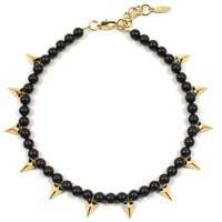 Vicious Love Pearl & Pyramid Necklace - Gold/Jet