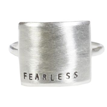 Sterling Silver Wide Message Ring - FEARLESS