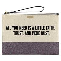 Disney Parks Peter Pan Canvas Glitter Clutch by Kate Spade New with Tag