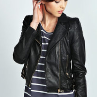 Mollie Crop PU Biker Jacket