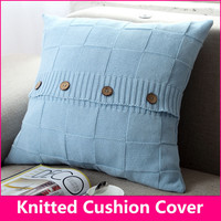Knitted cushion / Knitted pillow Cotton checkered button pillow decorate pillows 18*18 in(45*45cm) pink,white
