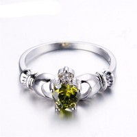 Peridot White Gold Filled Irish Claddagh Ring