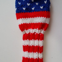 Golf Clulb Head Cover USA FLAG Red White Royal Blue Hand Knit 12-inch for Wood Fairways, Stars and Stripes, United States of America Patriot
