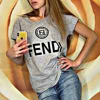 FENDI Summer Popular Women Leisure Print Round Collar T-Shirt Top Grey