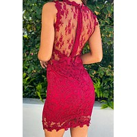 Dark Red Lace Short Dress