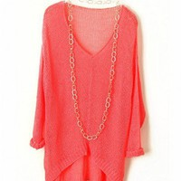V Neckline Batwing Sleeves Knit Pullovers in Neon Pink
