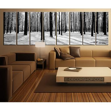 Large Wall Art Forest in Winter Canvas Art Set 8 Panel Canvas Art Print Canvas Print Forest and
