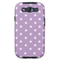 African Violet And White Stars Pattern Galaxy SIII Case from Zazzle.com
