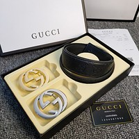 GUCCI Color belt double buckle belt